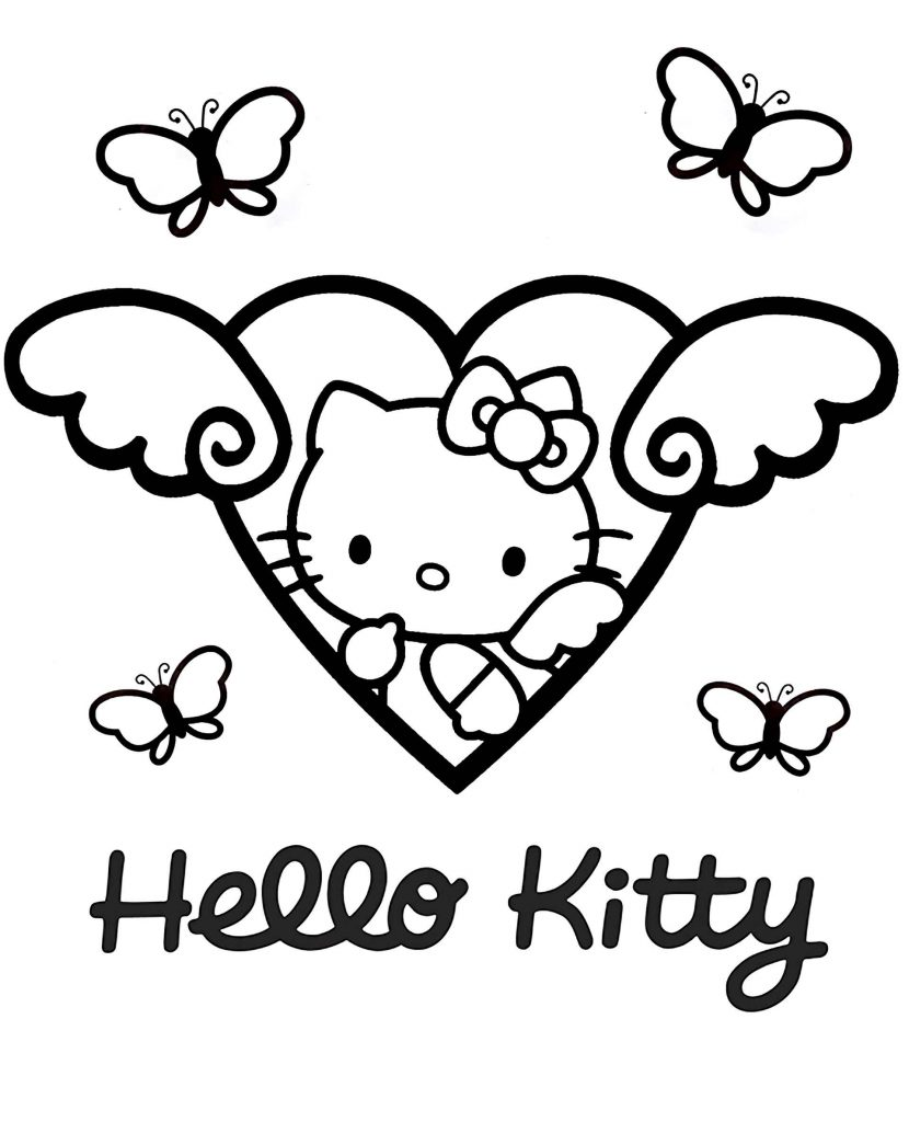Hello Kitty In The Center Of The Winged Heart