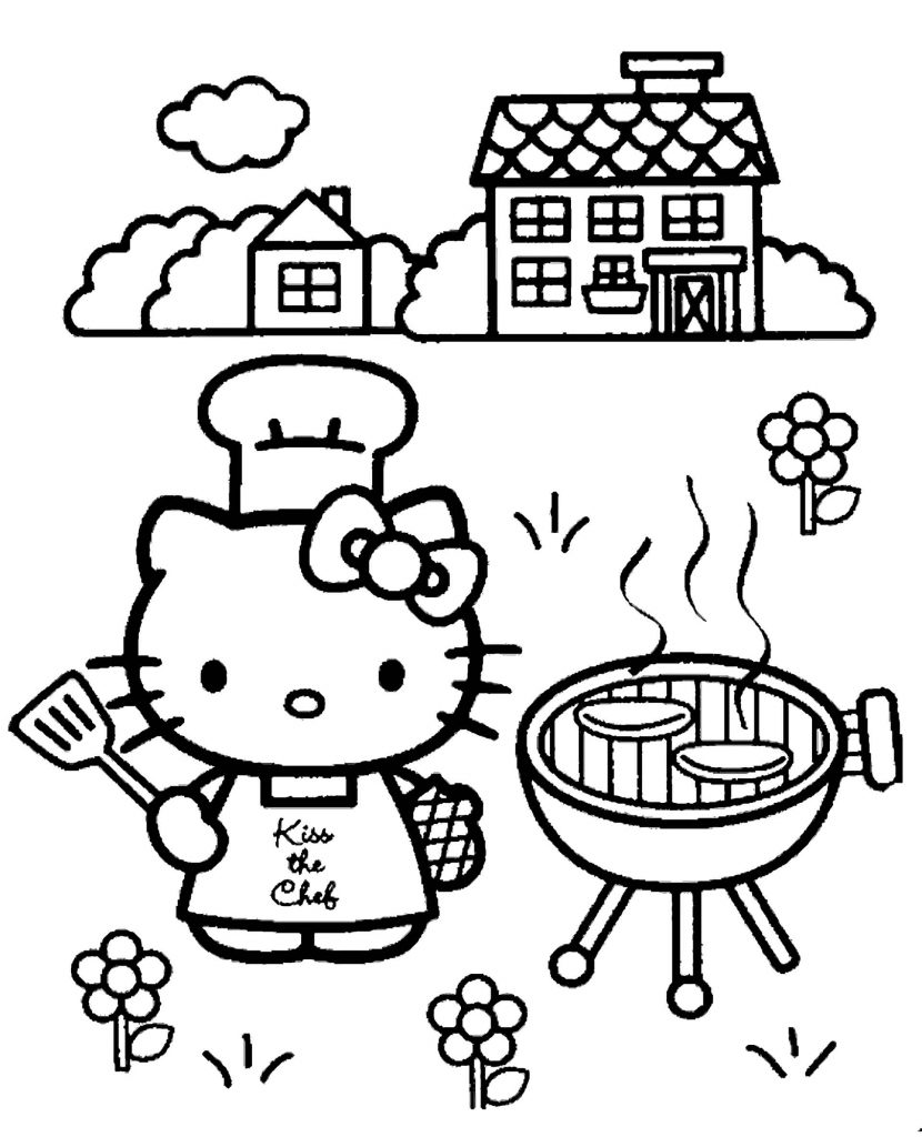 Hello Kitty Makes A Barbecue In The Backyard