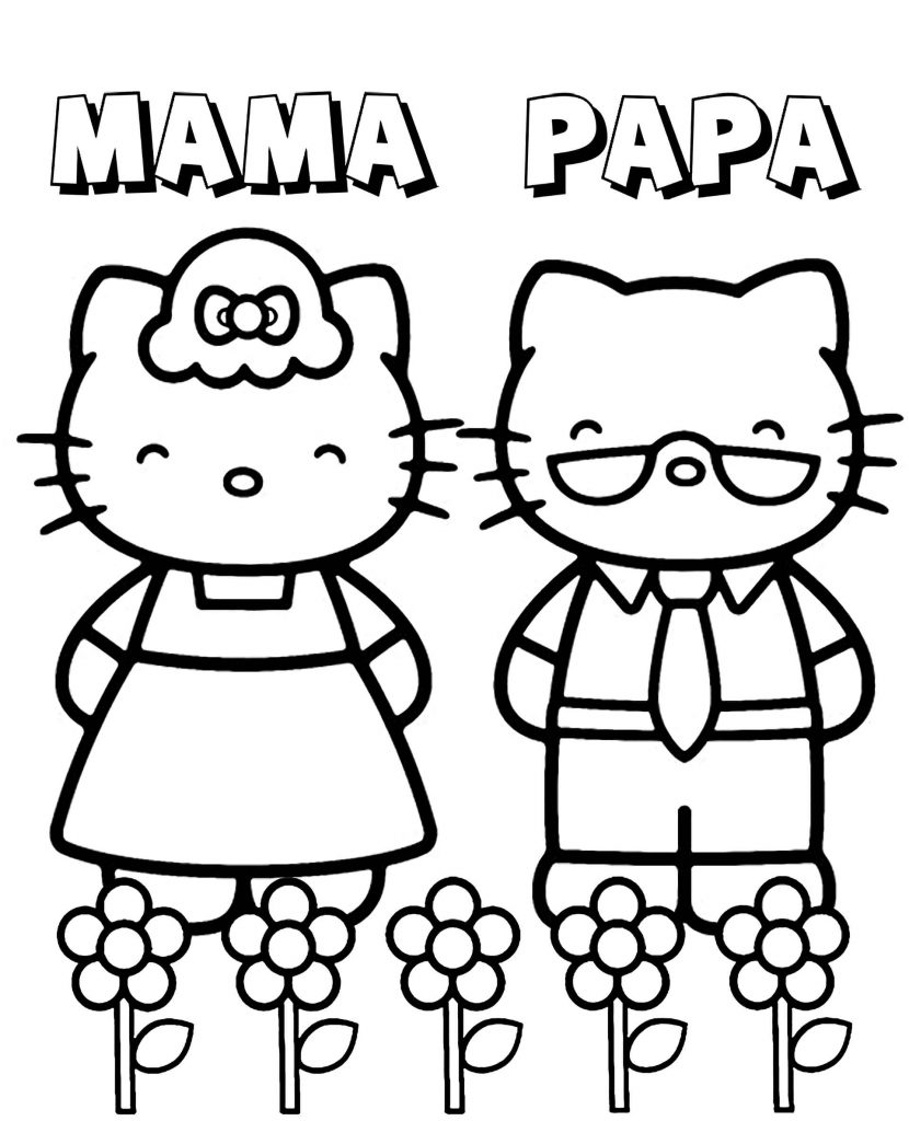 Hello Kitty Mom And Dad In A Meadow With Flowers