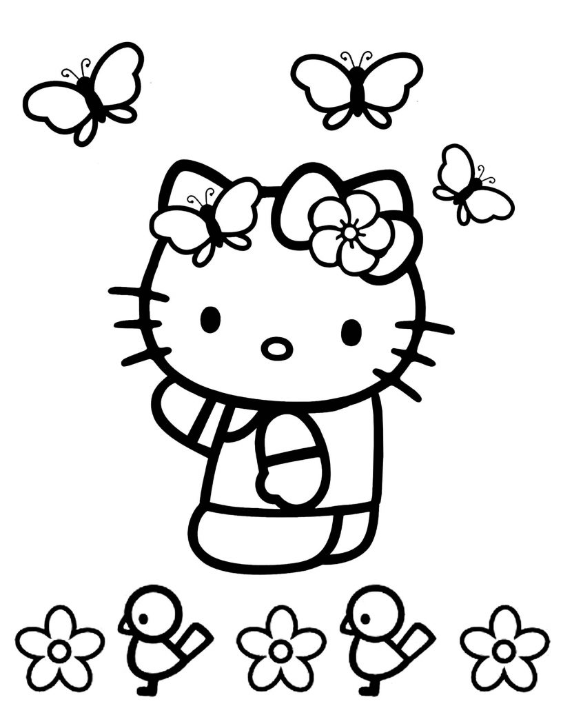 Hello Kitty Plays With Butterflies In A Flower Meadow