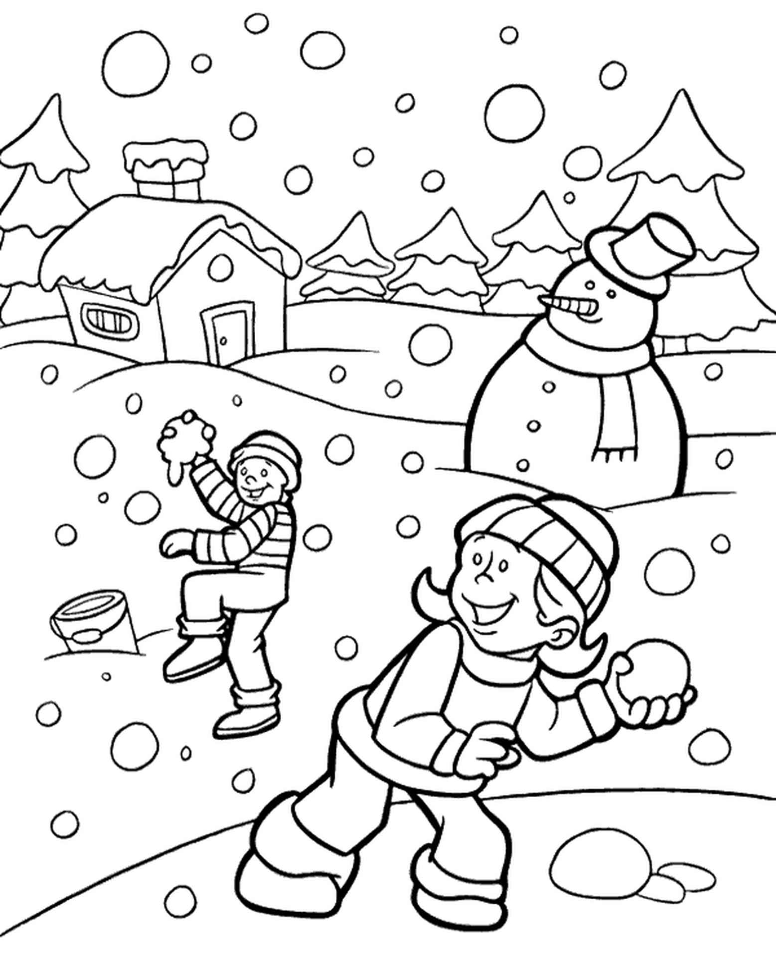 High Quality Winter Coloring Page To Print