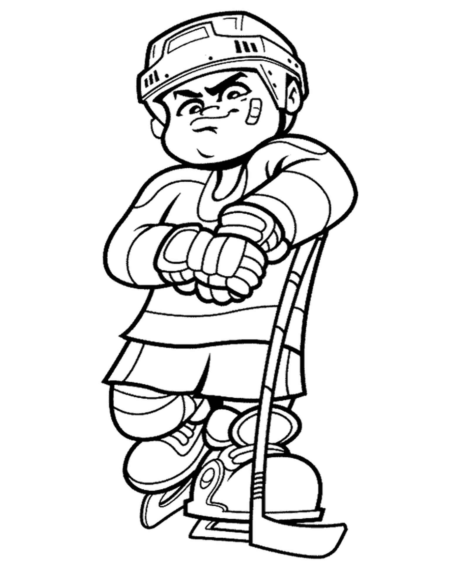 Hockey Player Free Coloring Page