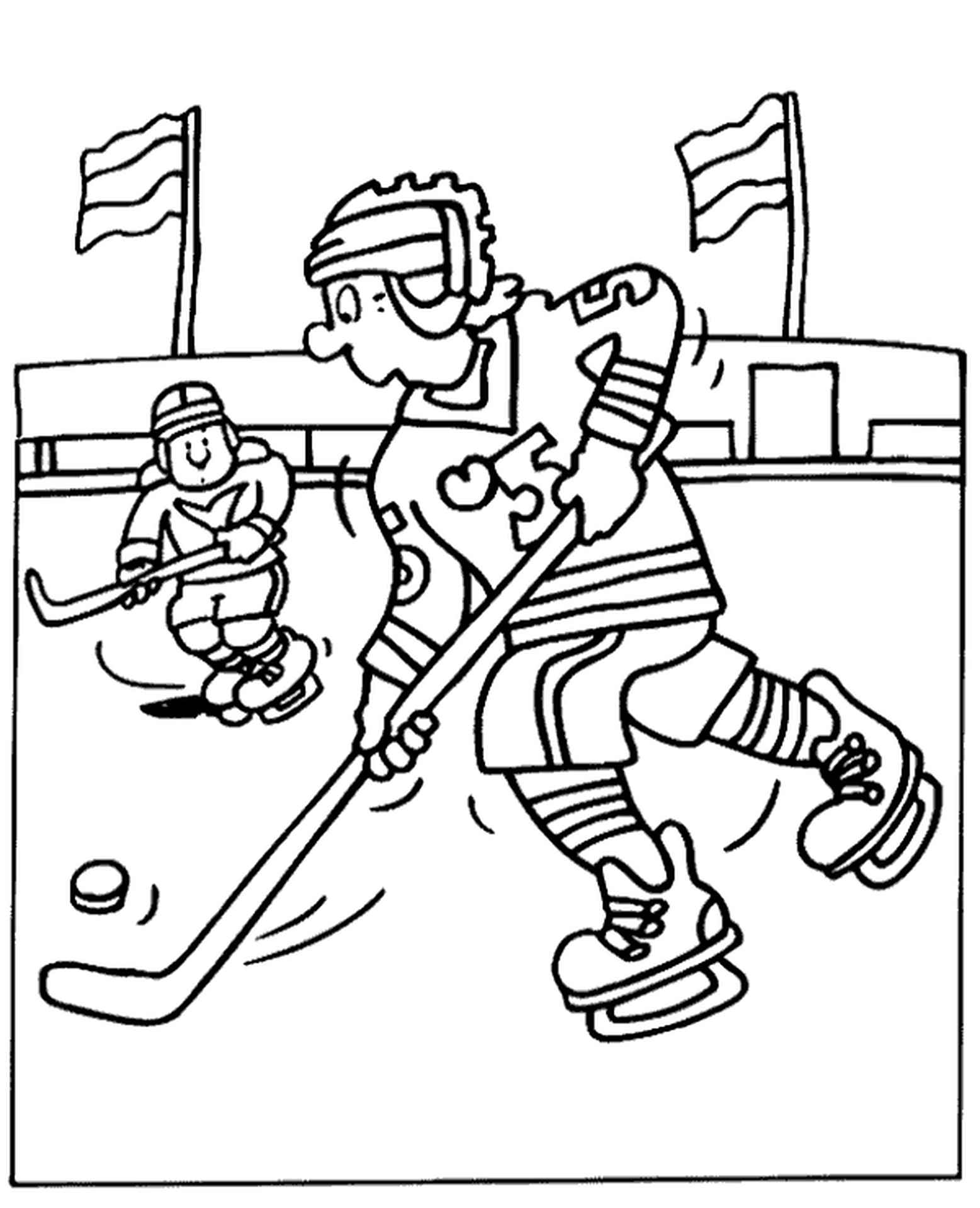 Hockey Players Coloring Page For Children