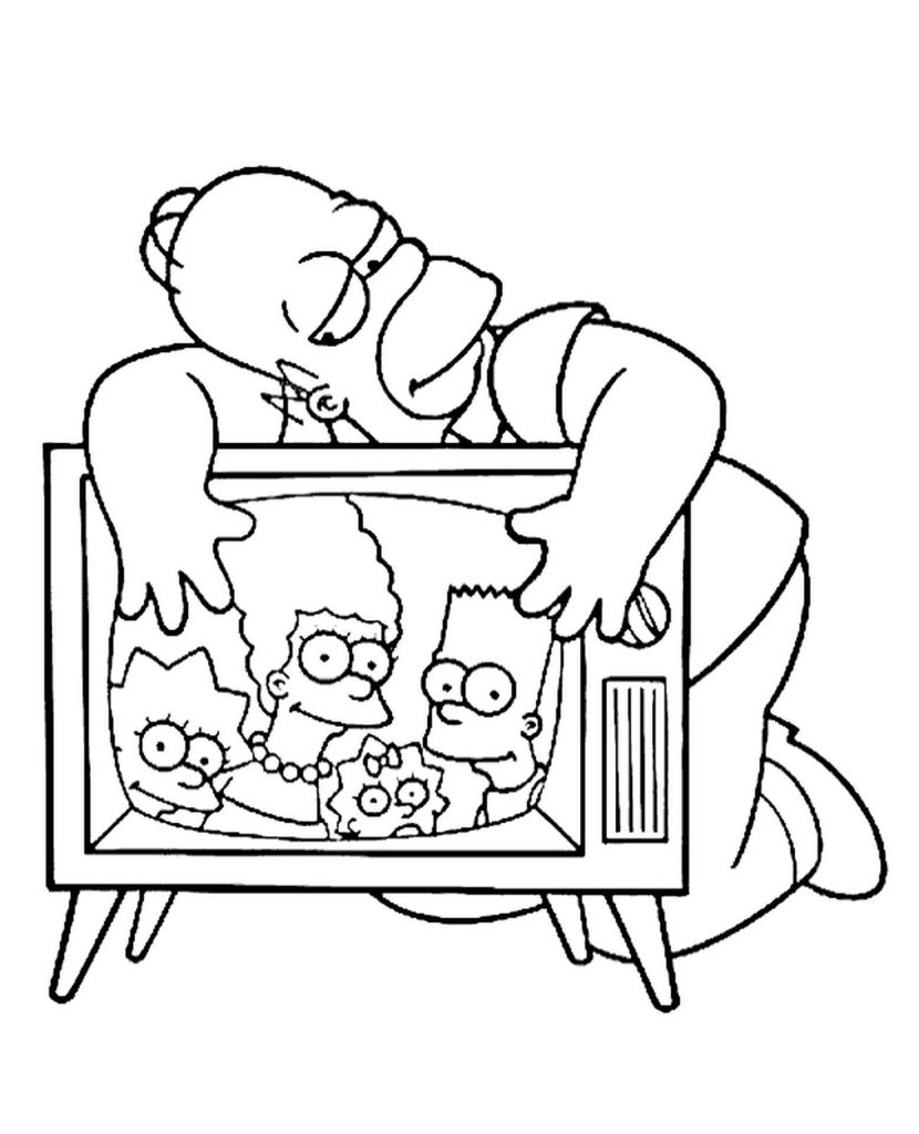 Homer Simpson Hugs The Tv Coloring Page