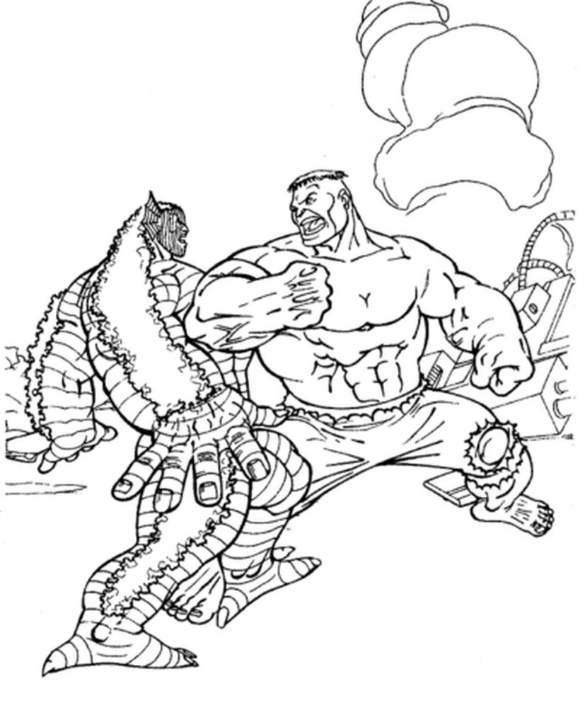 Hulk Fighting With A Reptile Coloring Page