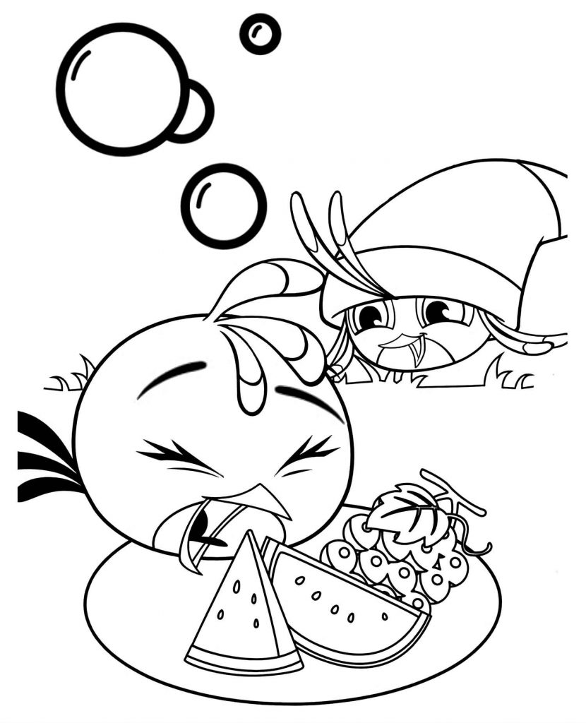 Hungry Stella And Her Friend Eating Watermelon And Grapes Coloring Page