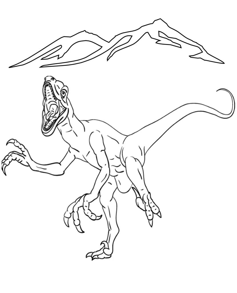 Hunting Velociraptor Coloring Page