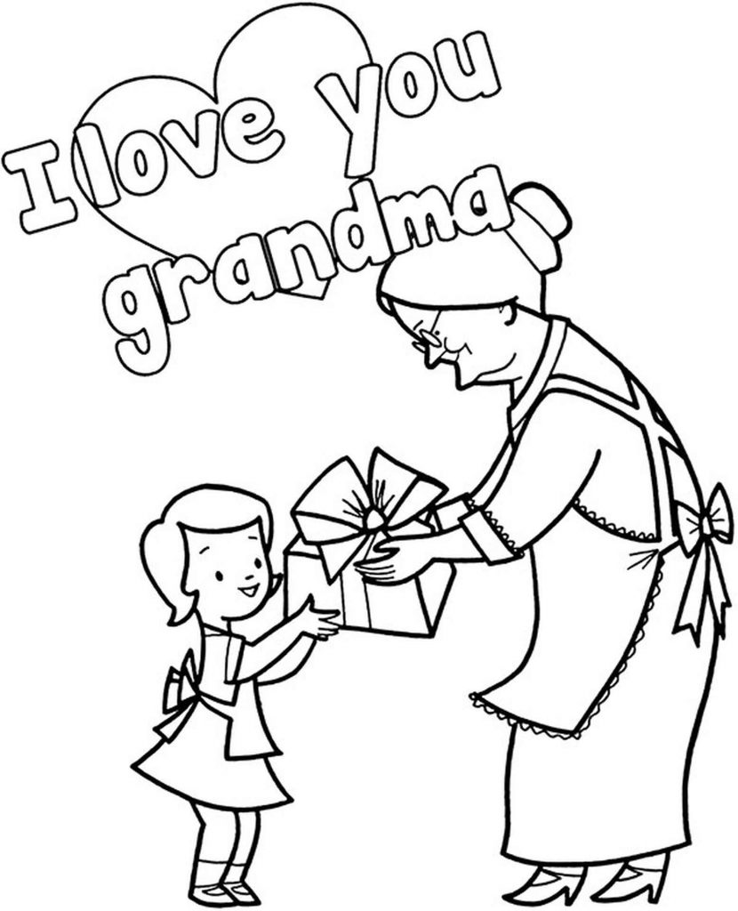 I Love You Grandma Coloring Page For Kids