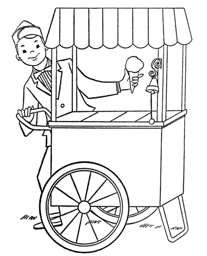 Ice Cream Seller Coloring Page