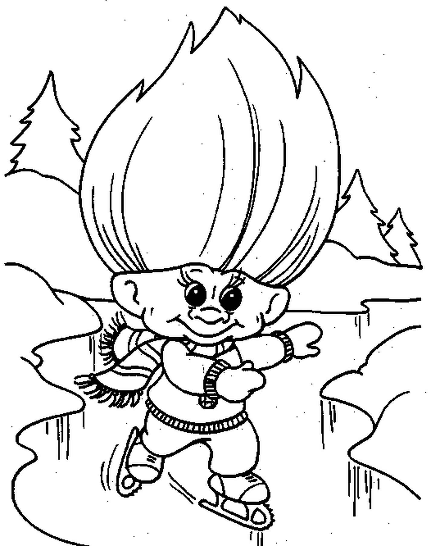 Ice Skating Trolls Coloring Page
