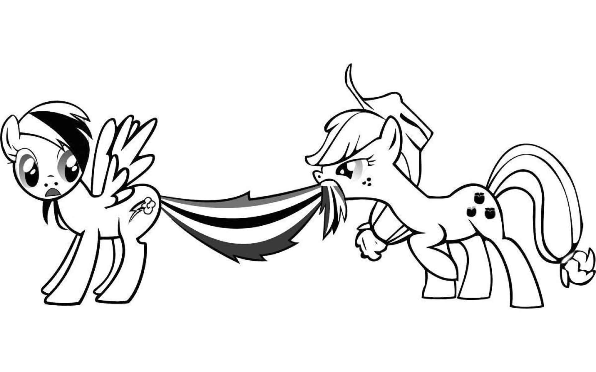 Image Of Applejack Holds Rainbowdash By The Tail