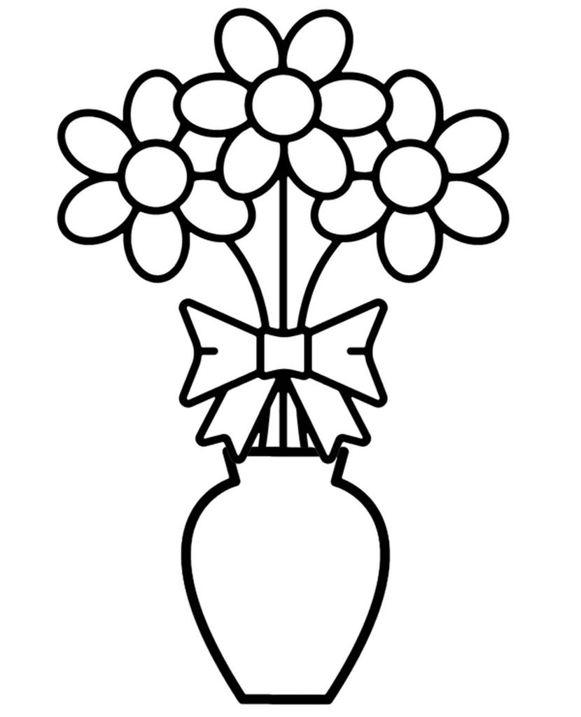Image Of Three Daisies In A Vase