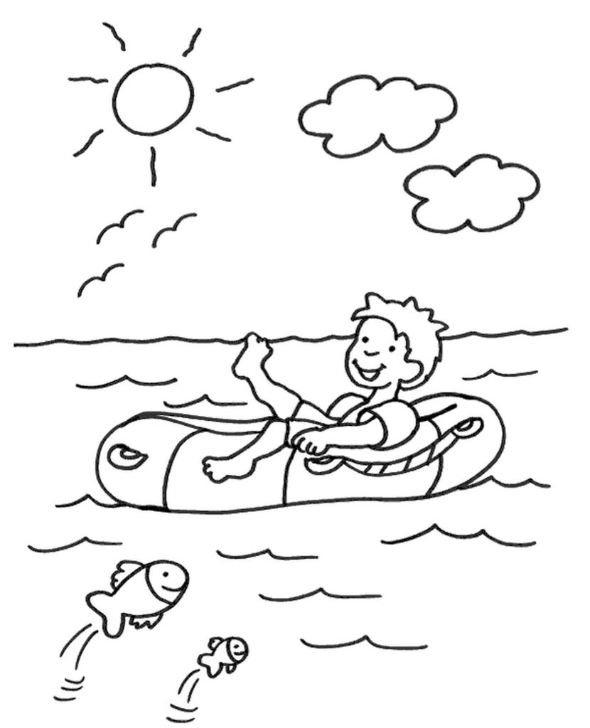 Inflatable Boat Coloring Page