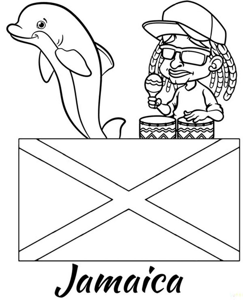 Jamaica Flag, Dolphin And Dude In Dreadlocks Coloring Image