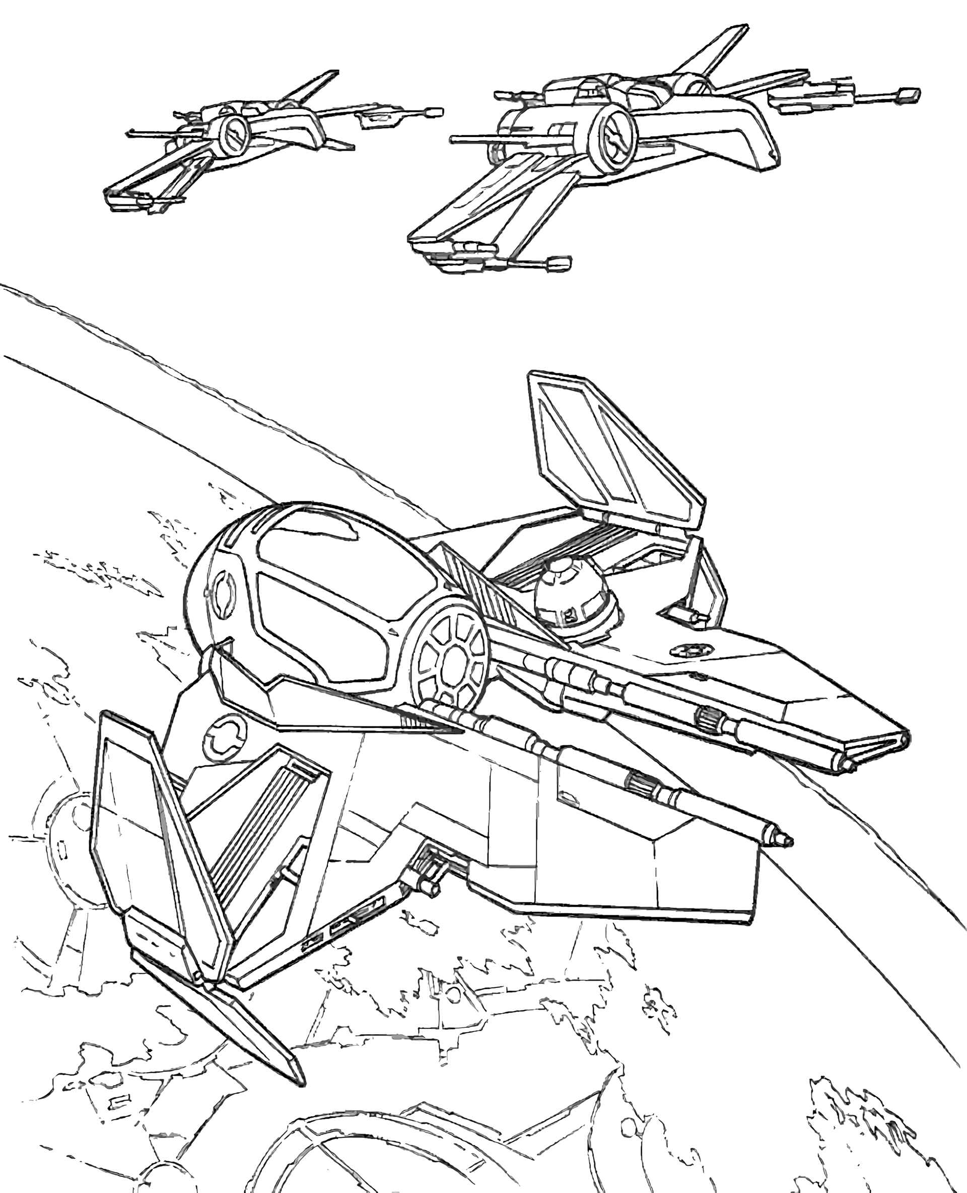 Jedi Starfighter X Wing In Star Wars Coloring Page