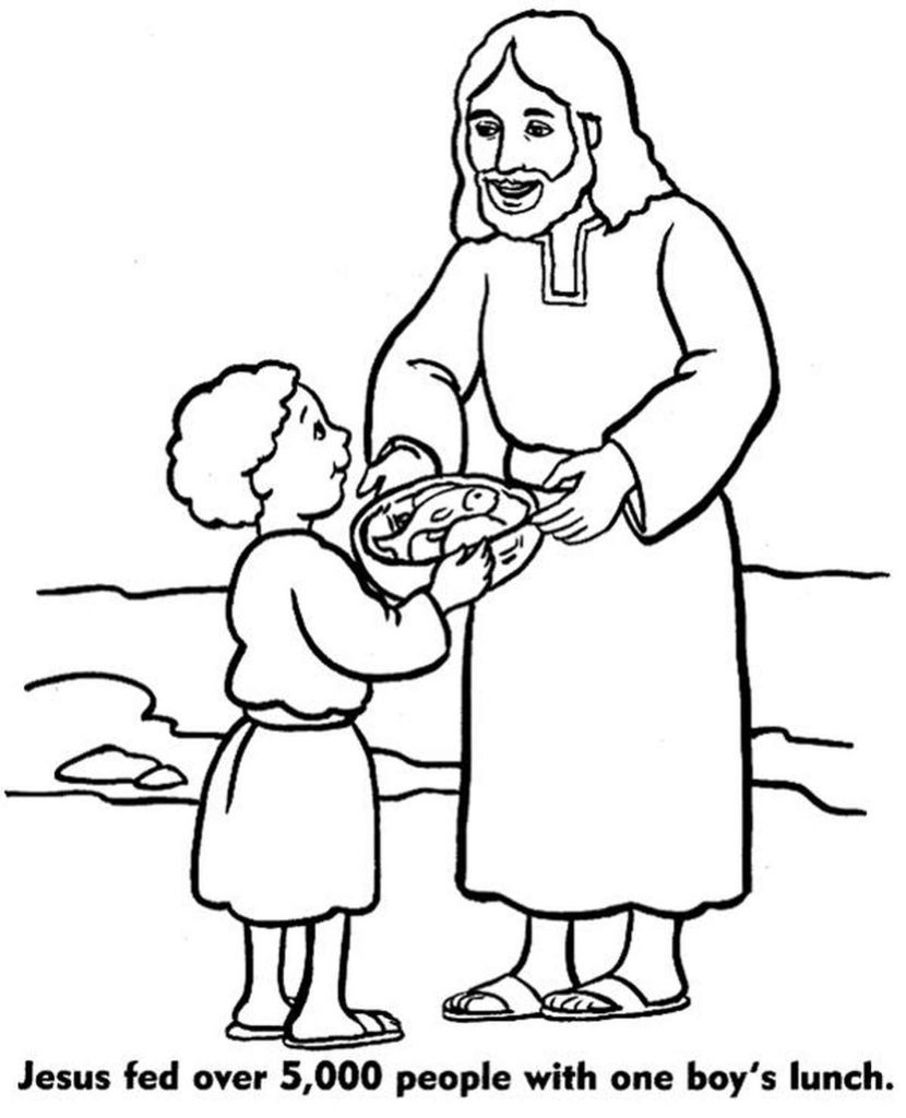 Jesus Christ Giving Food To A Kid Coloring Page