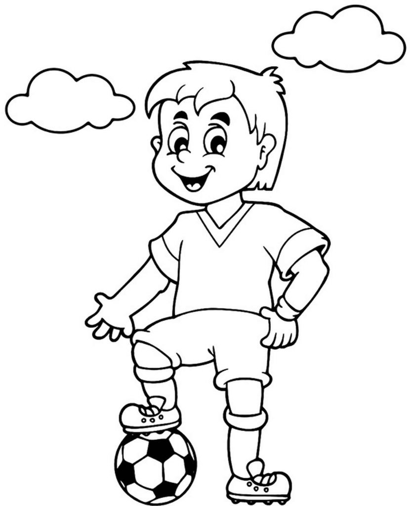 Joyful Boy Soccer Player Coloring Page