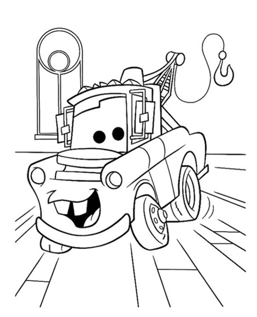 Joyful Tow Mater In Cars Coloring Page