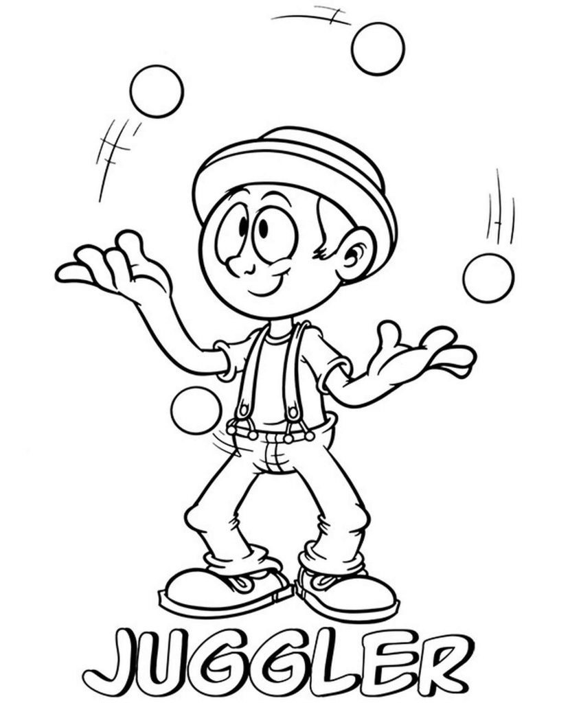 Juggler In The Circus Coloring Sheet