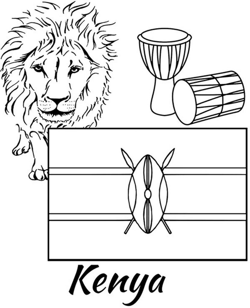 Kenya Flag, Lion And Drums Coloring Page