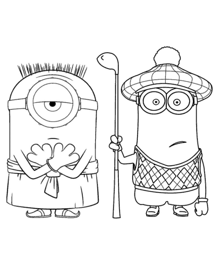 Kevin And Stewart Play Together Coloring Page