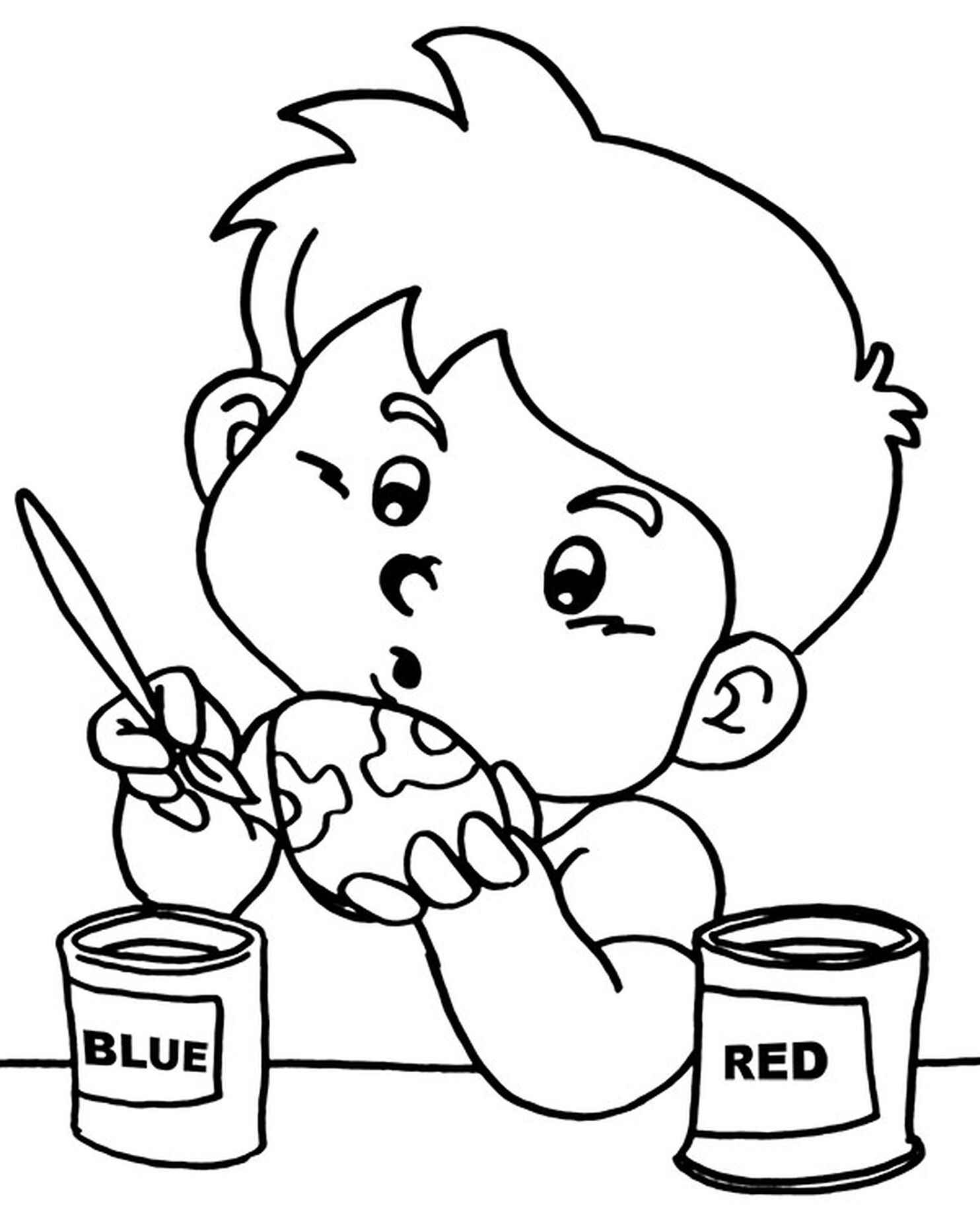 Kid Carefully Coloring An Egg On Easter Coloring Page