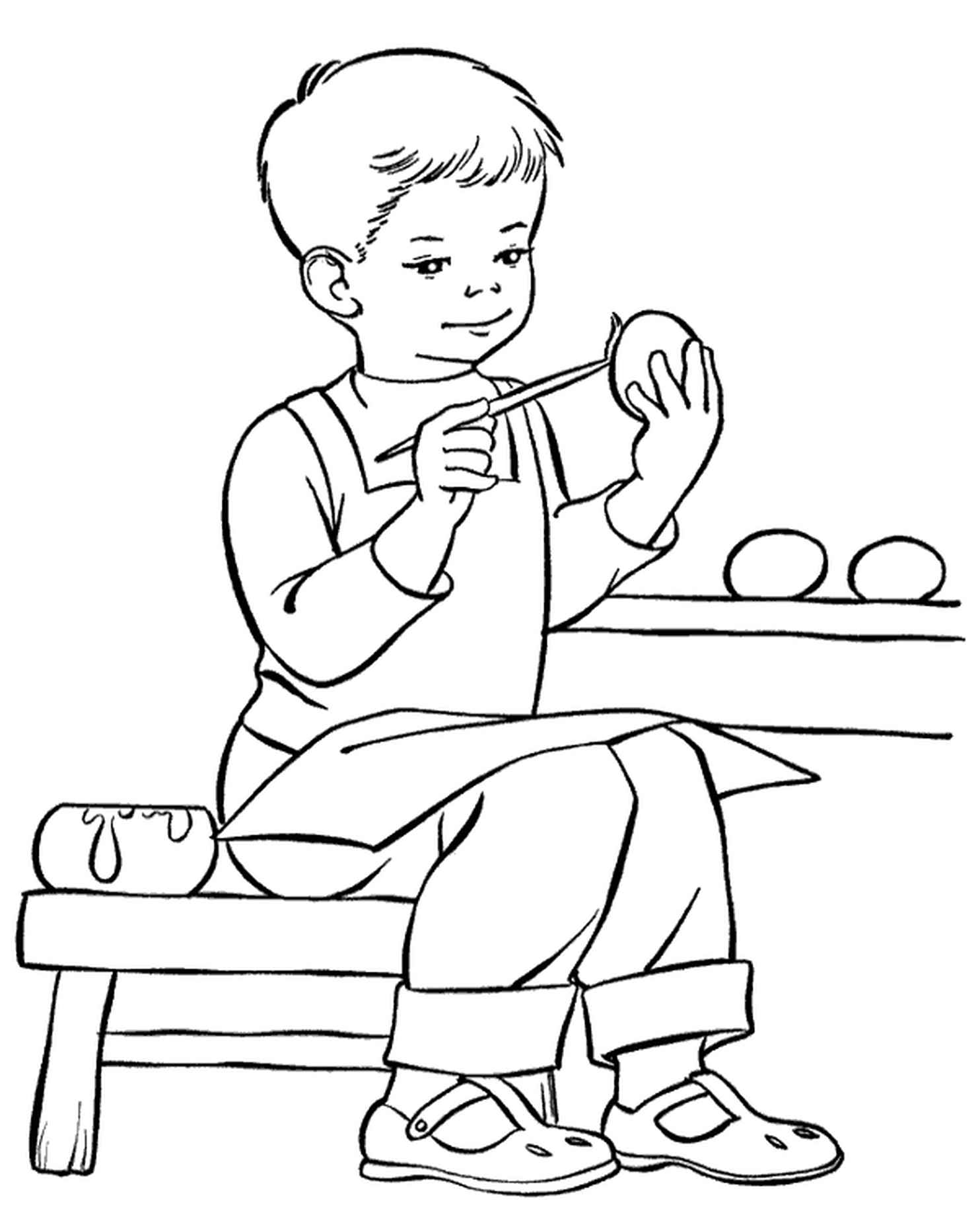 Kid Decorating Eggs For Easter Coloring Page