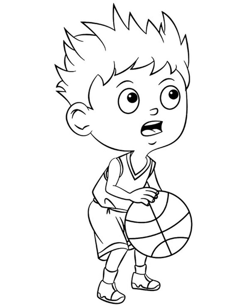 Kid Trying To Get A Free Throw In Coloring Page