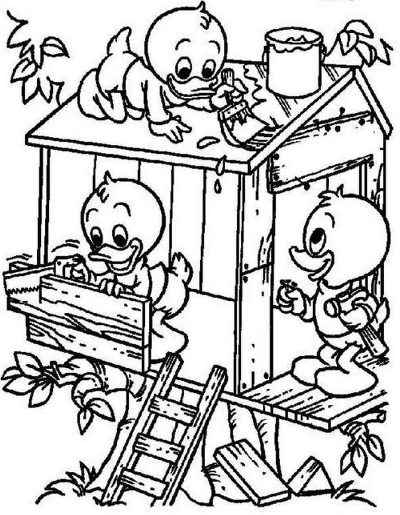 Kids From Ducktales Macking A Birdhouse