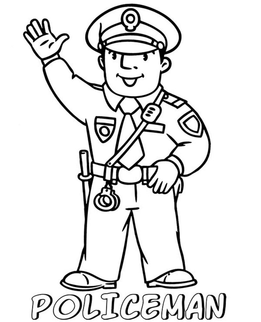 Kind Policeman Coloring Page