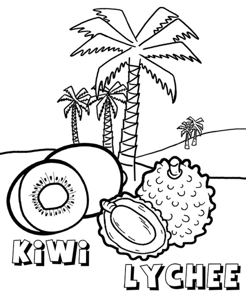 Kiwi And Lychee Fruits Coloring Page