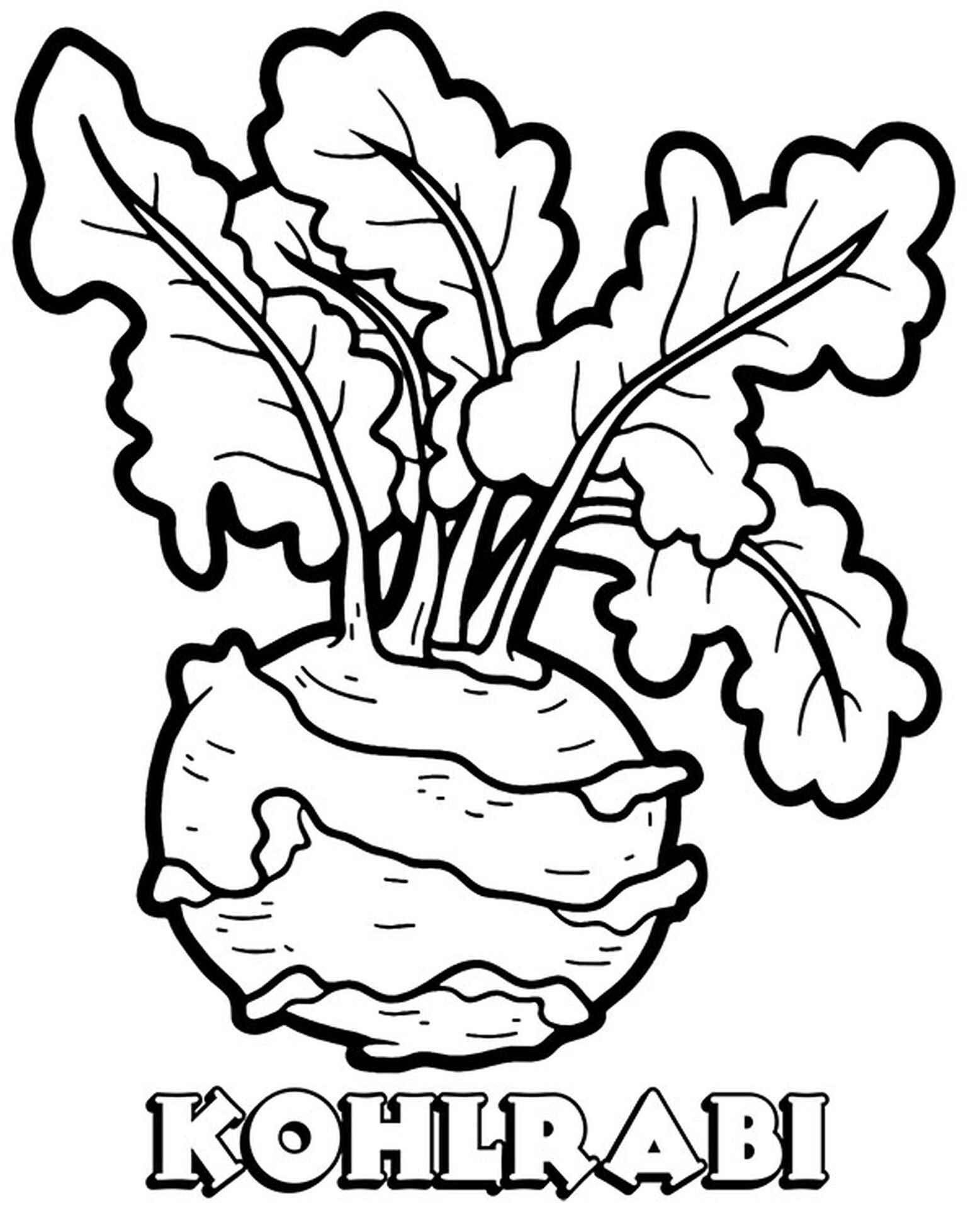 Kohlrabi Easy Coloring Page