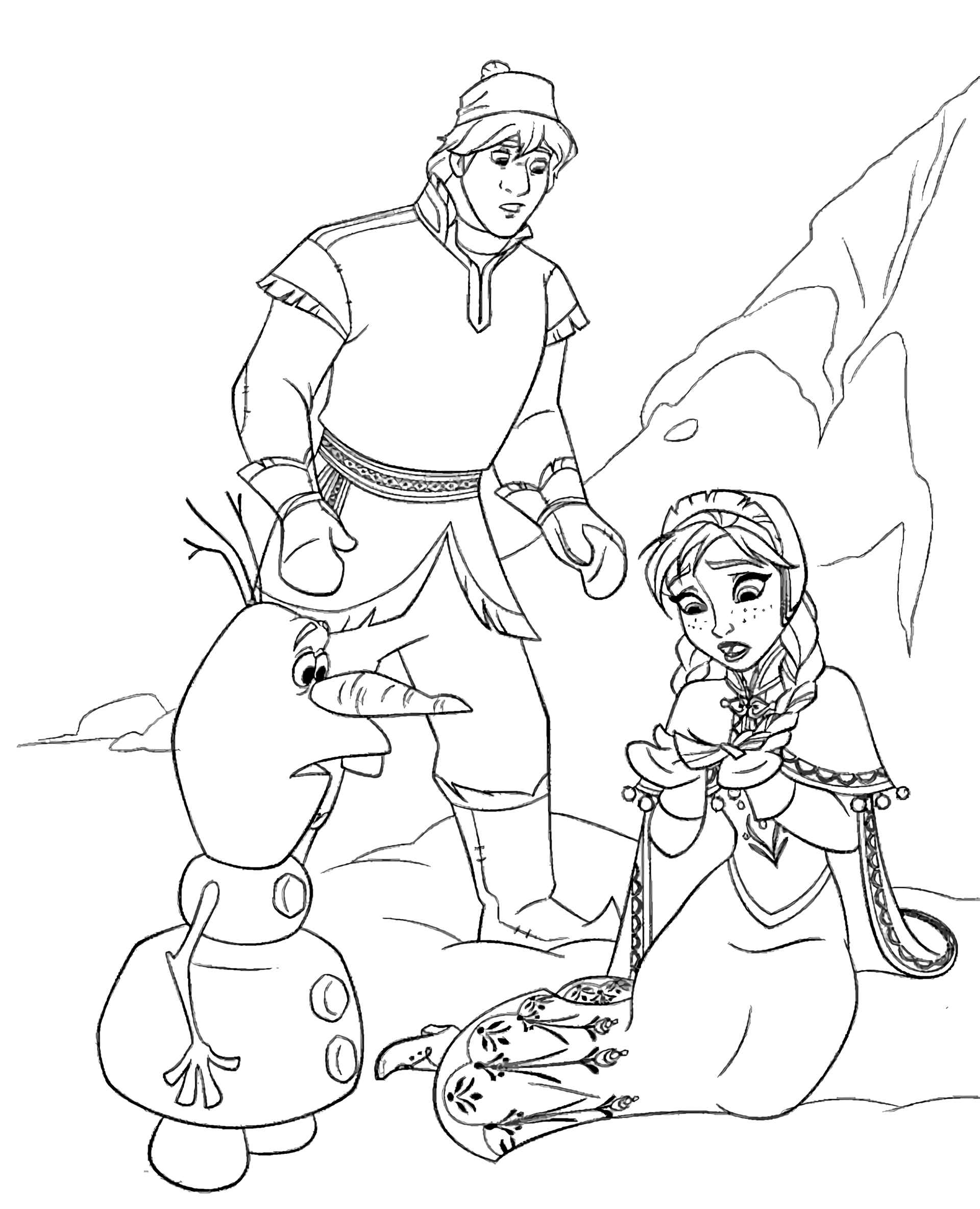 Kristoff, Anna And Olaf In Trouble Coloring Page