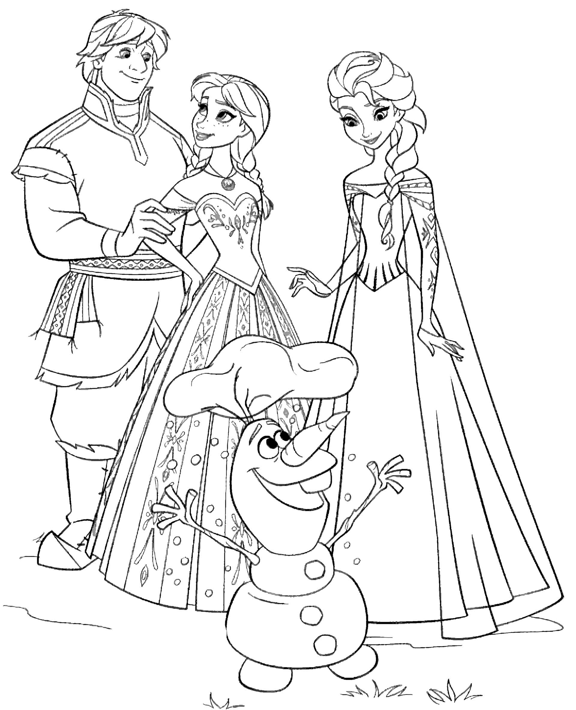 Kristoff, Anna, Elsa And Olaf Frozen Coloring Page