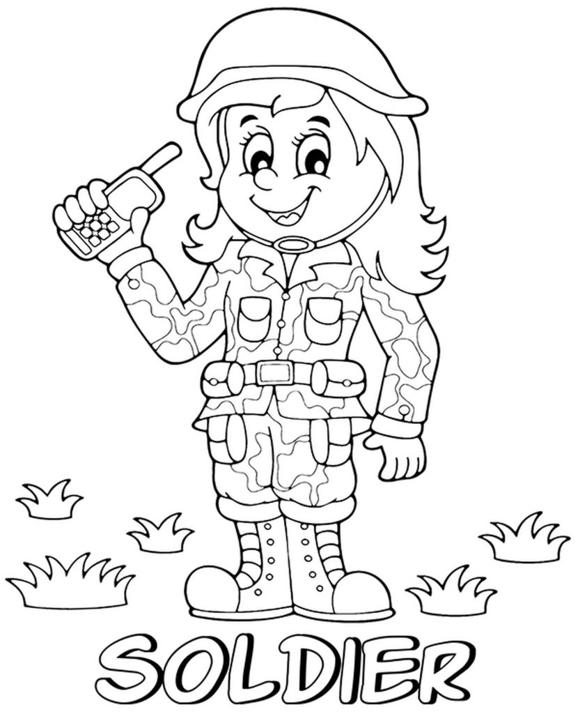 Lady Soldier Coloring Book