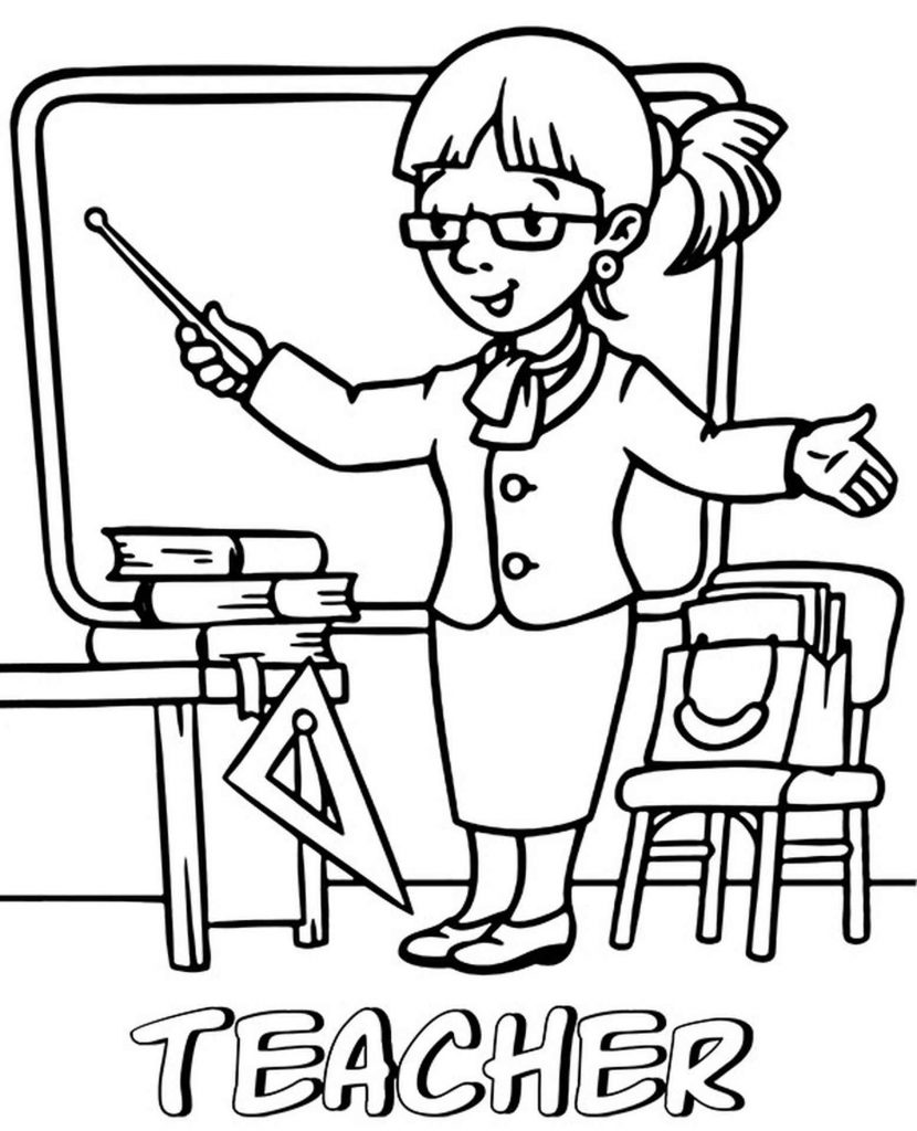 Lady Teacher Coloring Page