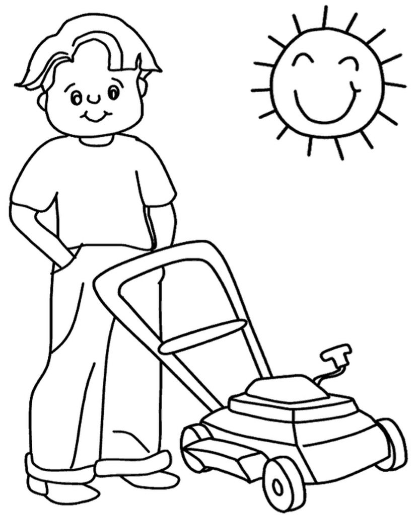 Lawn Mower Coloring Page