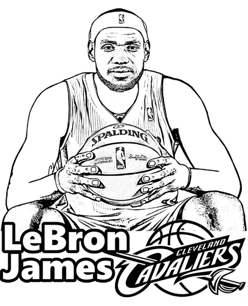 Lebron James Sitting With A Basketball Coloring Pages