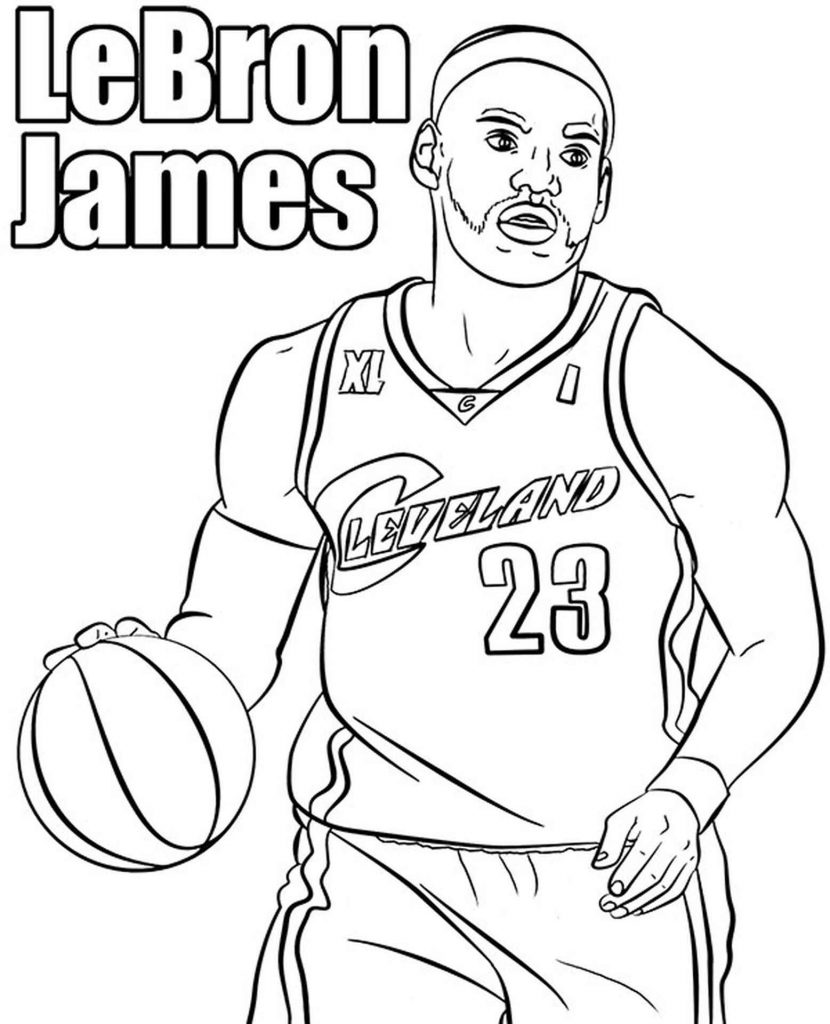 Lebron James With A Basketball Coloring Sheets