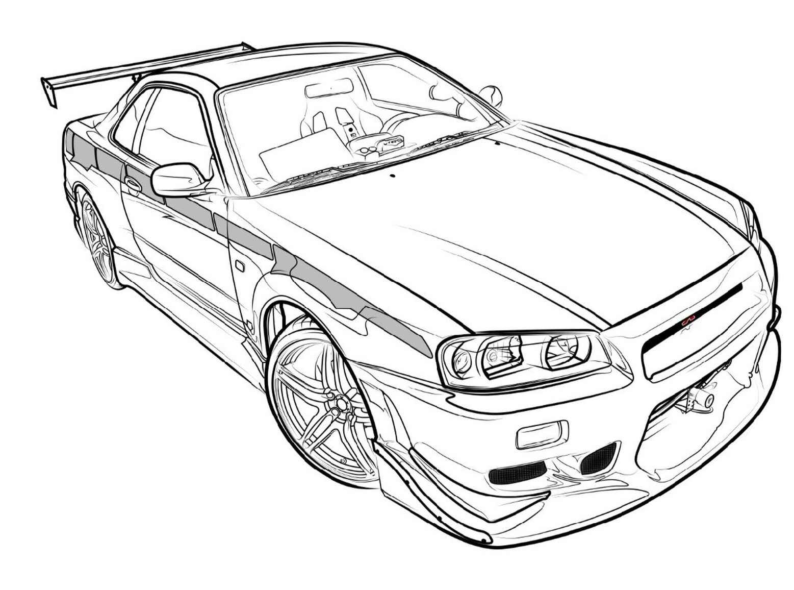 Legendary Skyline Gtr Fast And Furious Coloring Sheet