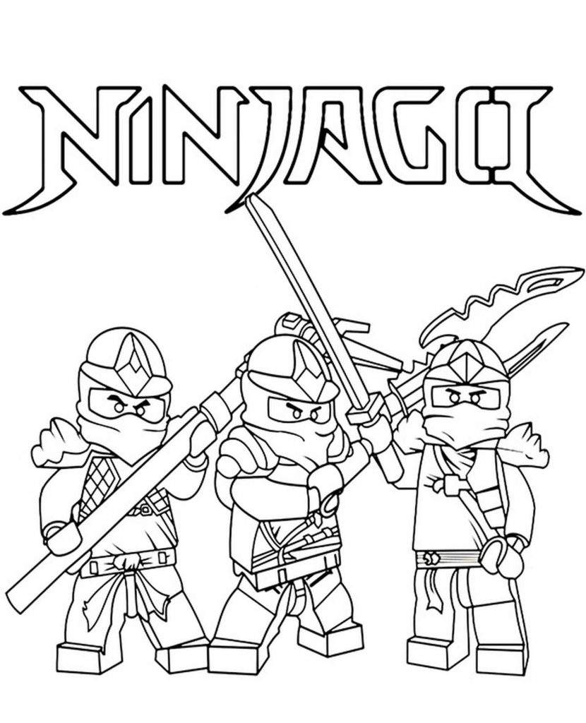 Lego Ninja Team With Weapons Coloring Page