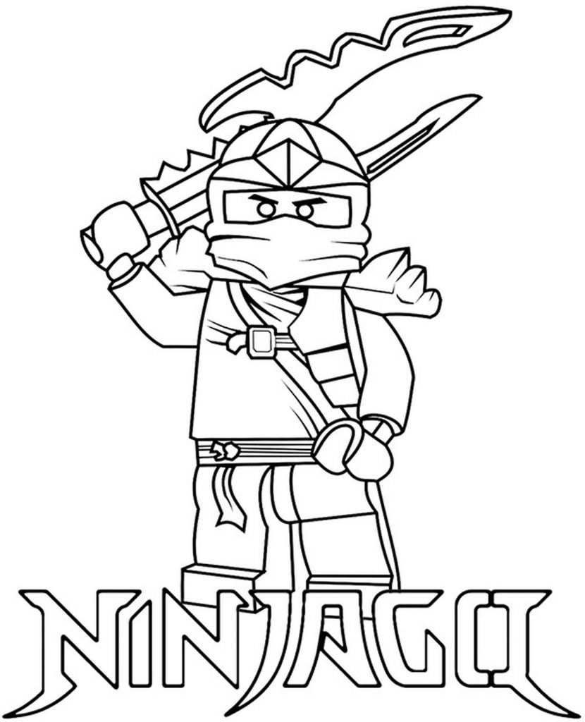 Lego Ninja Zane With Weapons Coloring Page
