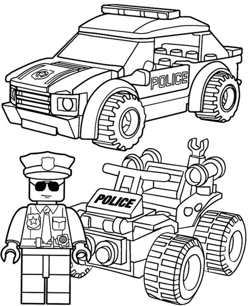 Lego Police Car And Cop Coloring Page