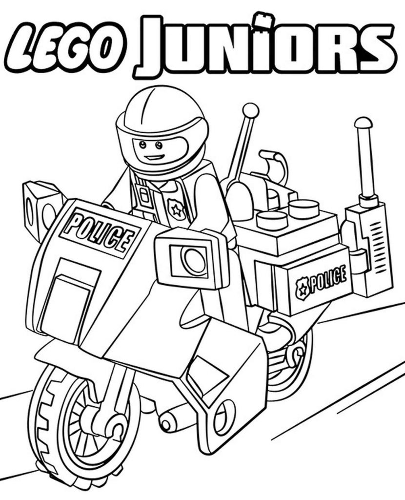 Lego Police Officer On A Motorcycle Coloring Page