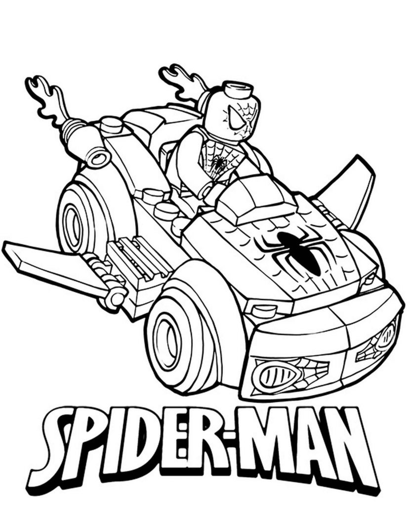 Lego Spider-Man By Car Coloring Page