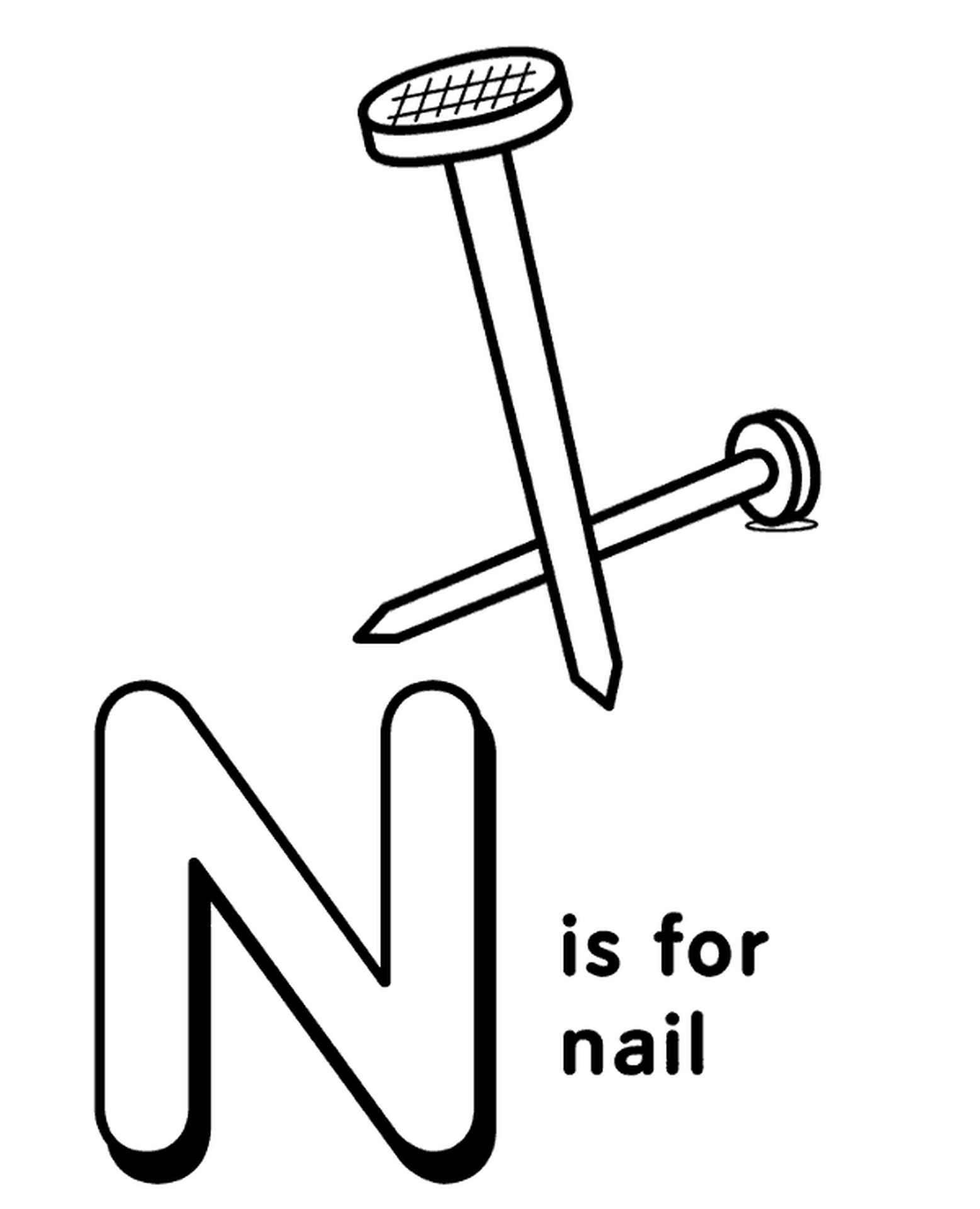 Letter N Coloring Page For Kids
