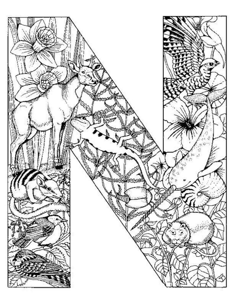 Letter N With Animals Inside Coloring Sheet For Adults