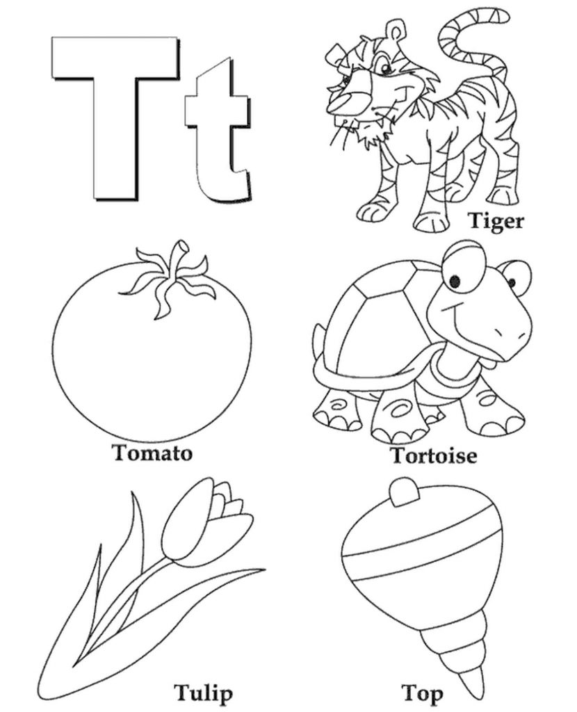 Letter T Coloring Page For Kids