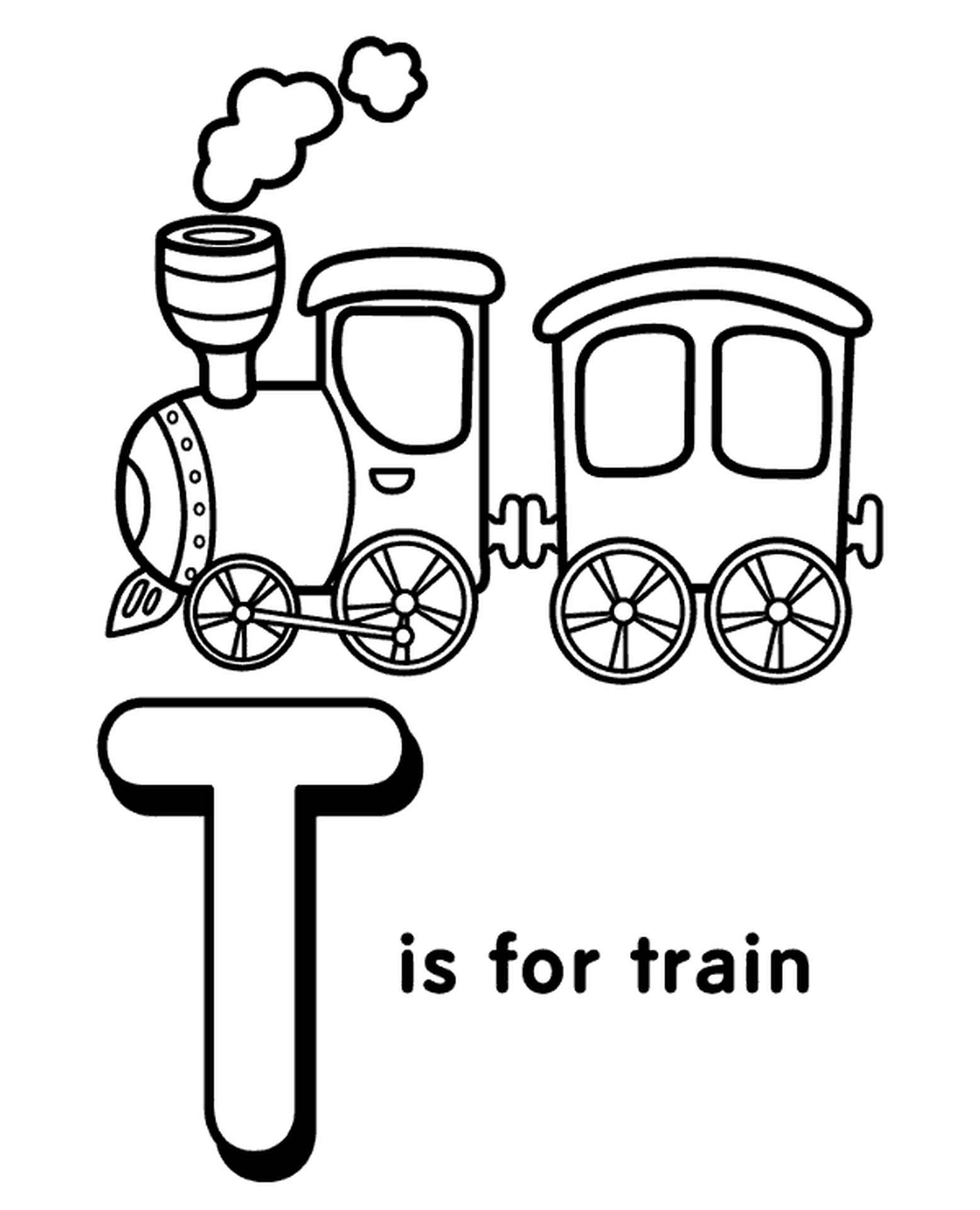 Letter T Coloring Page For Preschoolers