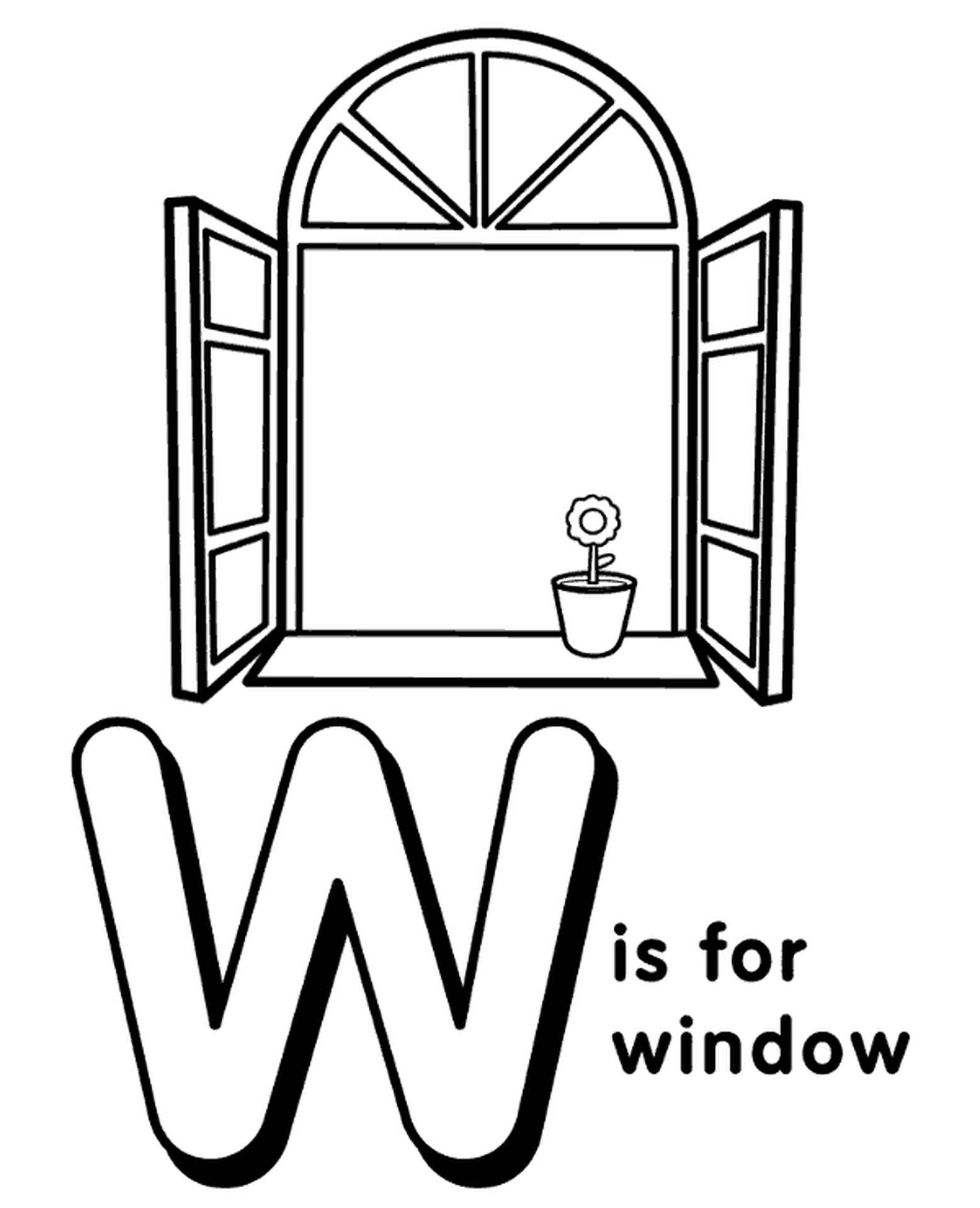 Letter W Coloring Page For Kids